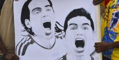 Falcao e James em uma caricatura feita por um torcedor colombiano