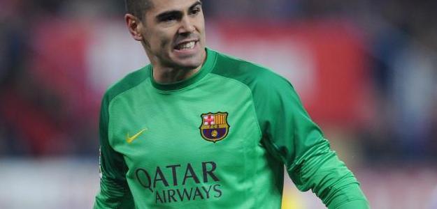 Victor Valdés atuando pelo Barcelona na última temporada