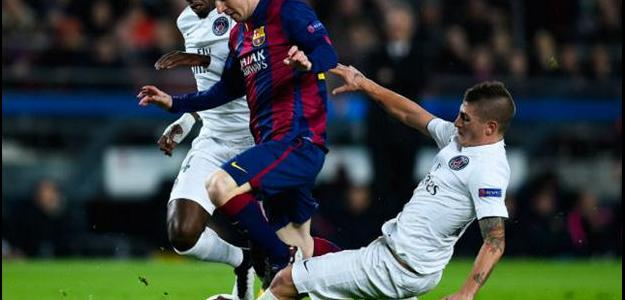 Verratti em jogo contra o Barcelona, válido pela Champions League