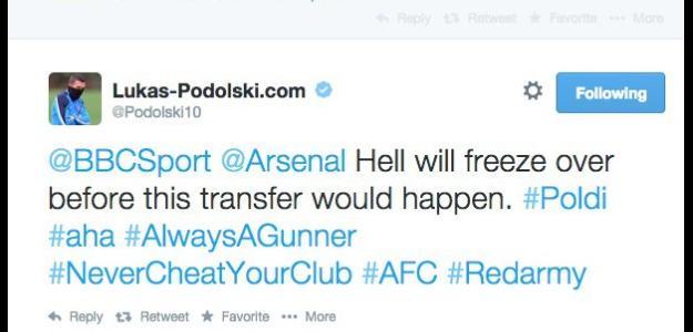 Podolski foi claro sobre suas intenções de ir para o Tottenham